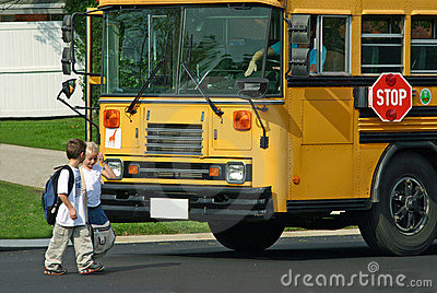 Kids Getting off Bus