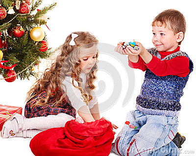 Kids with  gift box and sweet.