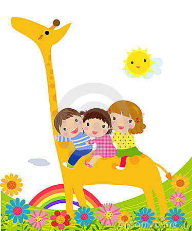 Kids and giraffe