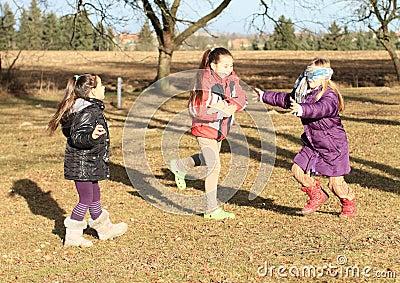 Kids - girls playing blind man s buff