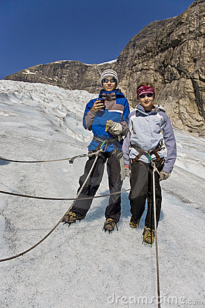 Kids at glacier tour in Norway