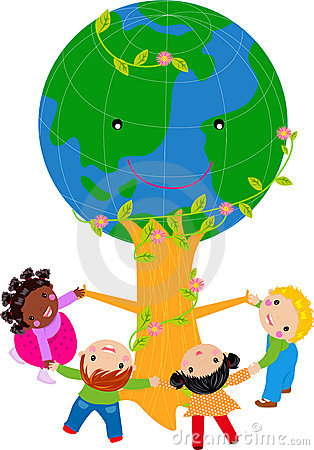 Kids and globe tree
