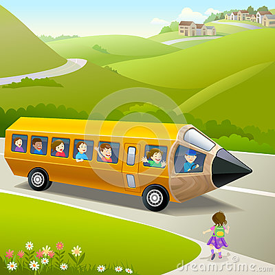 Kids Going to School by Pencil Bus