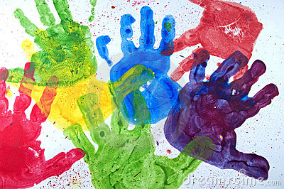 Kids hand paint