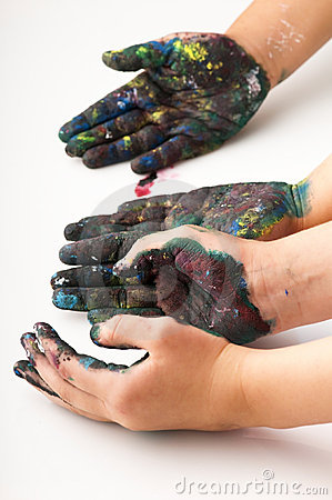 Free Kids Hands Covered With Paint Stock Image - 22607731