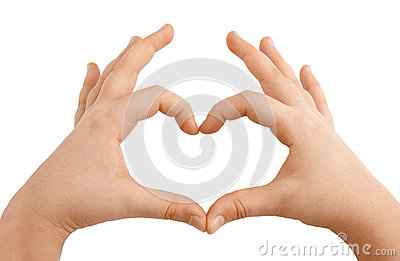 Kids hands showing heart shape