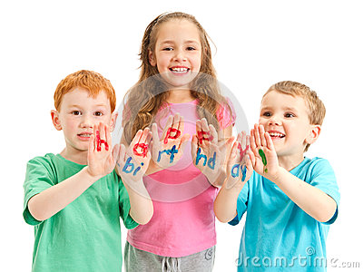 Kids happy birthday painted letters on hands