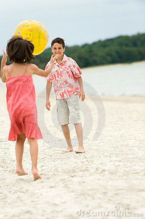 Kids having fun on the beach