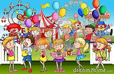 Kids having fun at the fun park