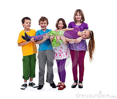 Kids having fun - isolated