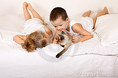 Kids having fun with a kitten