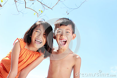 Kids having fun in sunny day