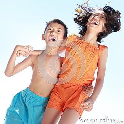 Kids having fun in sunny day