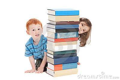 Kids hiding behind school books