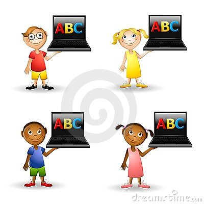 Kids Holding ABC Computers