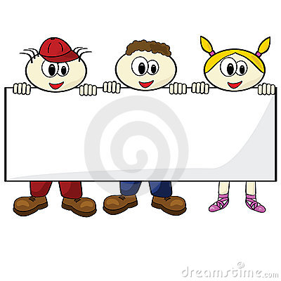 Kids holding blank card