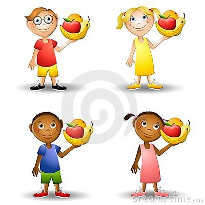 Free Kids Holding Healthy Foods 2 Stock Photography - 5576482