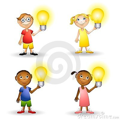 Kids Holding Lightbulbs