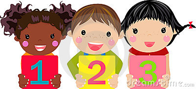 Kids holding number