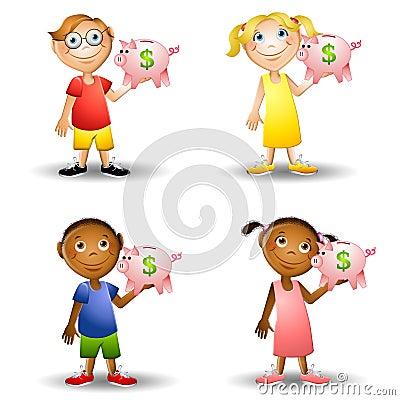Kids Holding Piggy Banks