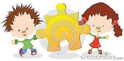 Kids Holding Puzzle Piece