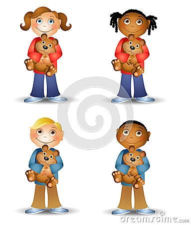 Kids Holding Teddy Bears
