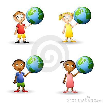 Free Kids Holding The Earth Royalty Free Stock Image - 5576416