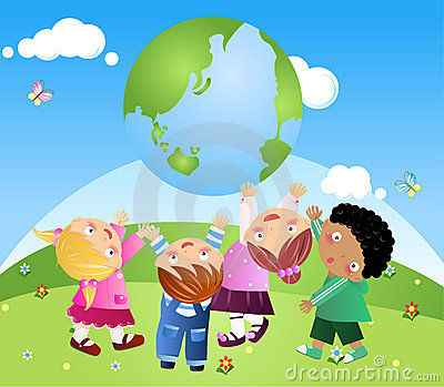 Kids Holding Up The Earth