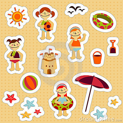 Free Kids Holidays Stickers Royalty Free Stock Photography - 8319827