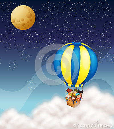 Kids in hot air balloon