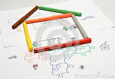 Kids illustration. puzzle. home