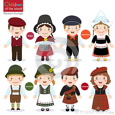 Free Kids In Different Traditional Costumes Stock Photography - 66932782