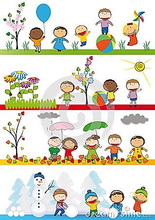 Free Kids In Four Season Royalty Free Stock Image - 27179946