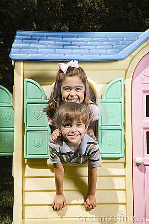 Free Kids In Playhouse. Royalty Free Stock Images - 4246619