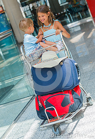 Free Kids In The Airport Stock Photography - 54329102