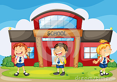 Kids infront of school