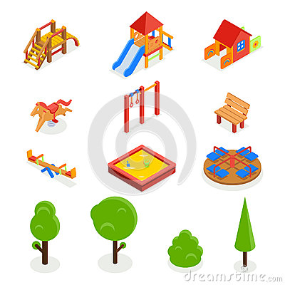 Free Kids Isometric 3D Playground. Vector Icon Set Royalty Free Stock Image - 63583476