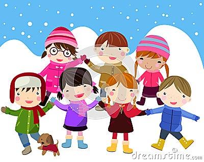 Kids join snow