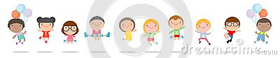 Kids jumping with joy , happy jumping childern, happy cartoon child playing on white background , Vector illustration. Vector Illustration