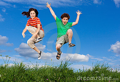 Kids jumping outdoor