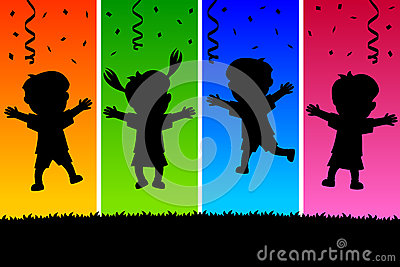 Kids Jumping Silhouettes