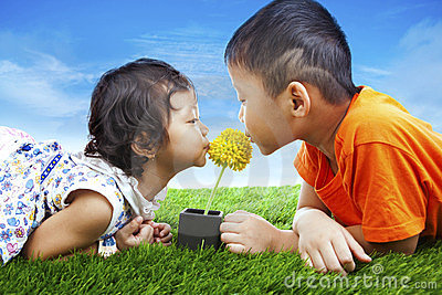 Kids kissing flower