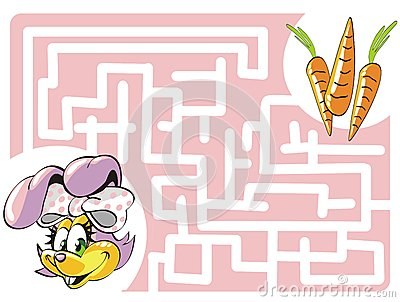 Kids labyrinth: Bunny and carrots