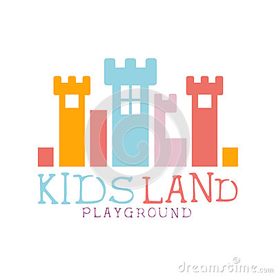 Free Kids Land Playground And Entertainment Club Colorful Promo Sign With Fairy-Tale Castle For The Playing Space For Royalty Free Stock Photography - 82751677