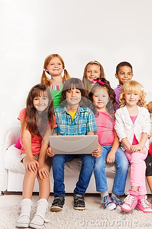 Kids in laptop with laptop
