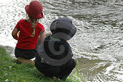 Kids looking river