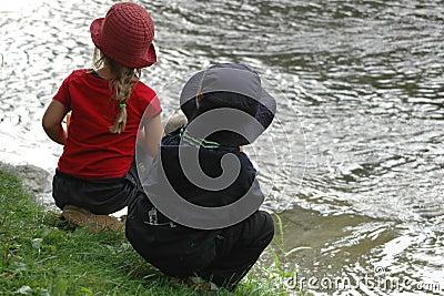 Kids looking river