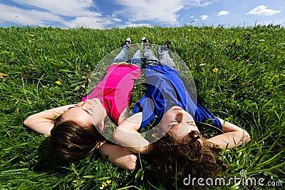 Kids lying outdoor