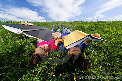 Kids lying outdoor