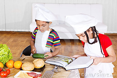 Kids making salad